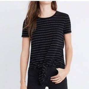 Madewell Sz XL Tie front striped tee shirt black